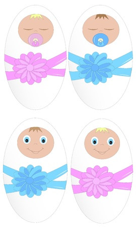 Two little baby-girl and the boy sleeping and smiling Stock Vector - 13206816