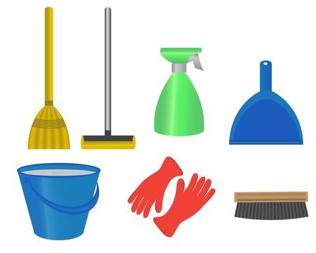servicio domestico: artículos para la limpieza de la habitación, un cubo de agua, la fregona, escoba, cepillo, guantes de goma para el lavado y recogedor Vectores