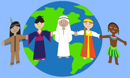 People of different nationalities holding hands on a globe.   Vector