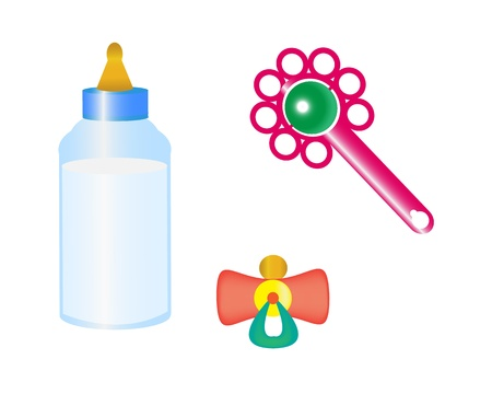things to take care of a child with a bottle of milk, pacifier and rattle.