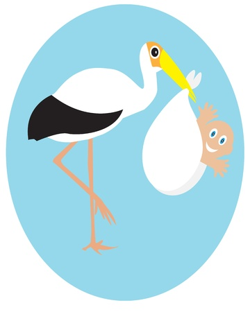 Stork, who holds the baby in its beak Stock Vector - 13297428