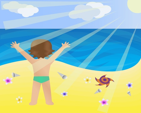 children only: child stands on the beach and watching the sea Illustration
