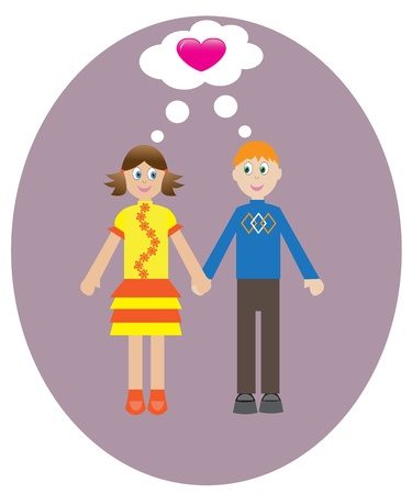 boy and girl think about love for each other. Vector