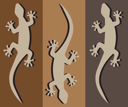salamandre: trois geckos rampants silhouette avec une ombre noire
