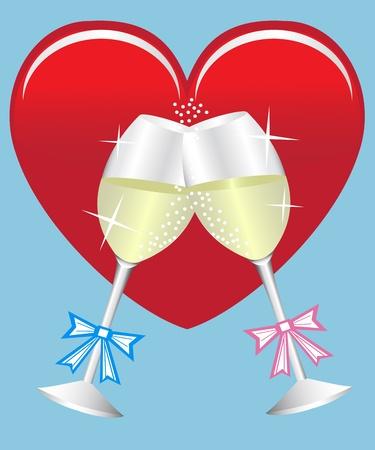 coeur diamant: deux verres de champagne sur fond de coeur