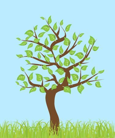 tree with leaves and grass on a blue background Vector