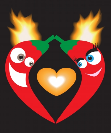 amour poivrons avec la flamme sur un fond noir
