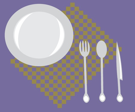 place mat: an empty plate, fork, spoon and knife on a napkin.