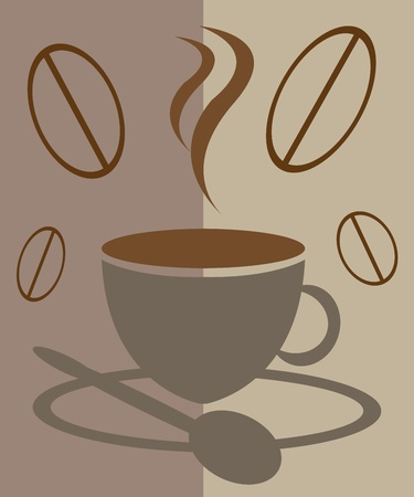 cup of coffee, steam and coffee beans Vector