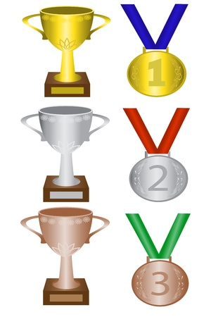 gold record: medals and trophies for first, second and third place