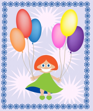 Redhead girl holding balloons of different colors Stock Vector - 13846492