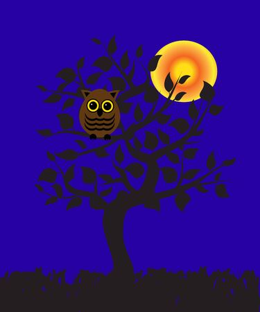 cresent: an owl sitting on a tree at night   Illustration