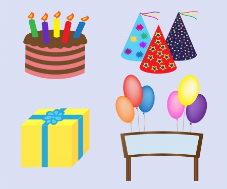 gift, balloons, greeting board covers and cake. Vector