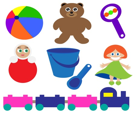 collection of children s toys on a white background Stock Vector - 13899487