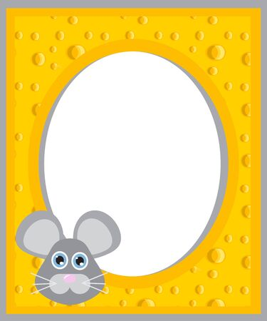 frame made of cheese with the mouse Vector