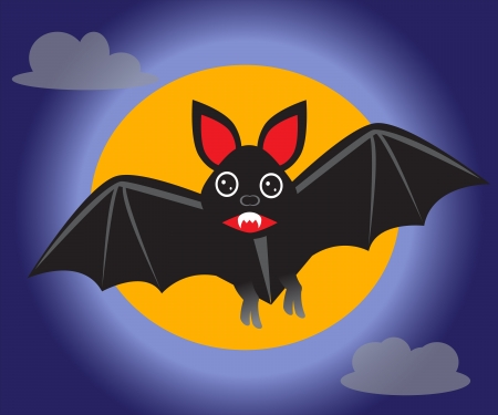 bat against the backdrop of the moon and the sky   Vector