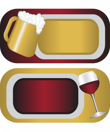 tag with the image of a glass of wine and beer mugs Stock Vector - 14298262
