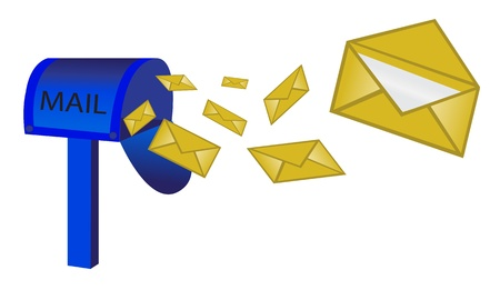 cartoon envelope: the blue mailbox on the leg and flying letters