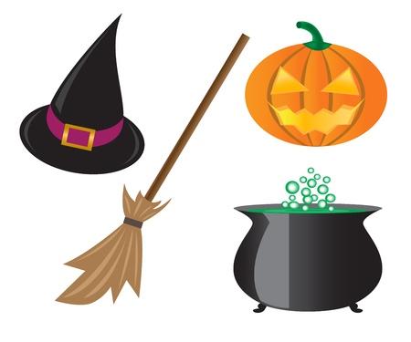 Things für Halloween, Kürbisse, Hexen Hut, Topf und einem Besen.