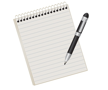 item list: lined pad on a spring and a black pen Illustration