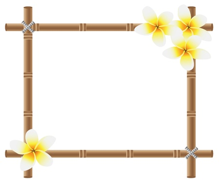 bamboo frame with Plumeria flowers on the sides Vektorové ilustrace