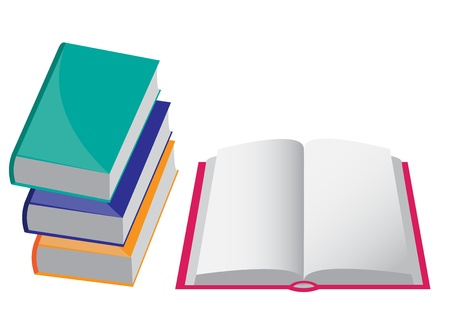 illiteracy: four books of different colors. The three closed and one opened.