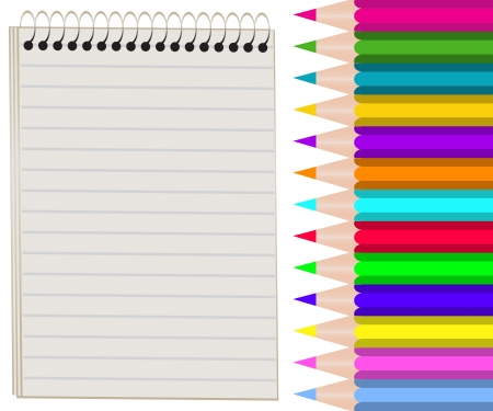 blank notebook and a set of colored pencils Vector