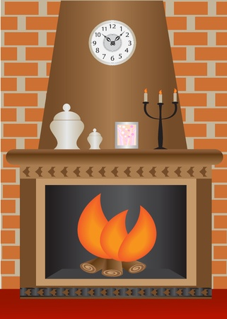 fireplace with a fire burning against a brick wall