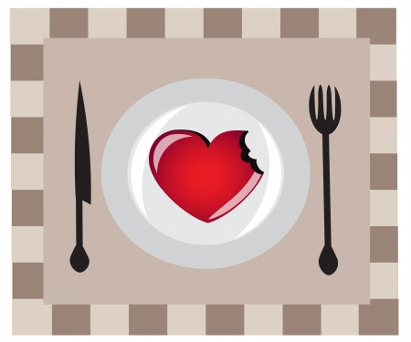 Heart on a plate, lay next to the fork and knife.   Vector