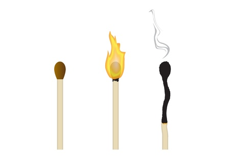 three matches: the whole, the burning and extinguished Stock Vector - 14458409
