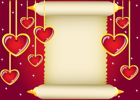 gold scroll and hanging hearts on red background Vector