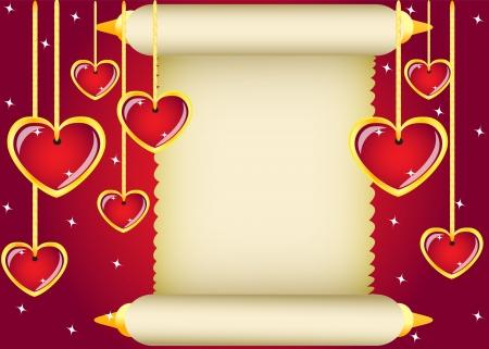 gold scroll and hanging hearts on red background Vektoros illusztráció