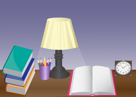 table set: a desk with a lamp, books, alarm clock and pencils