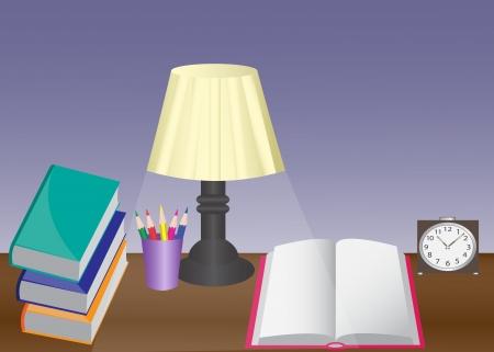 een bureau met een lamp, boeken, wekker en potloden