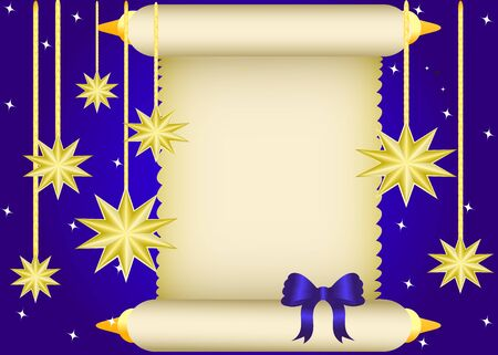 gold string: Scroll to the bow, surrounded by hanging stars