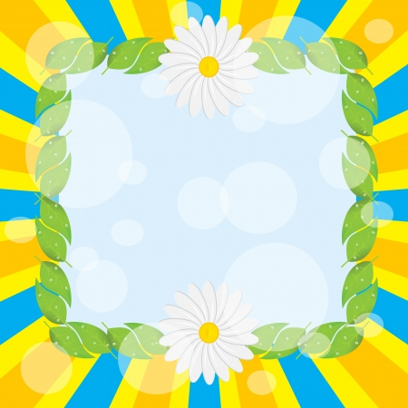 Frame leaf decoration daisies on a bright background Stock Vector - 14554652