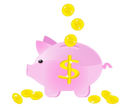 moneybox in the form of a pig with coins Stock Vector - 14589959