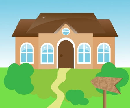 detached house: house with a wooden pointer of green space   Illustration
