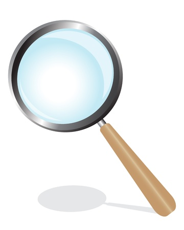 sherlock: magnifying glass on a wooden handle with a shadow