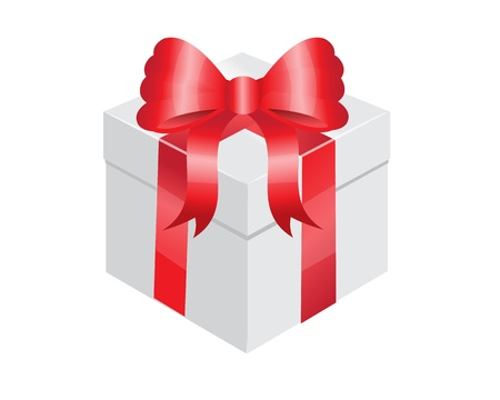 christmas gift box: white gift box with a shiny red bow   Illustration