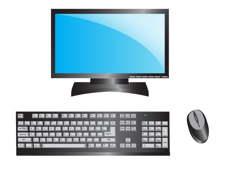 computer with a blue screen, keyboard, mouse   Stock Vector - 14614262