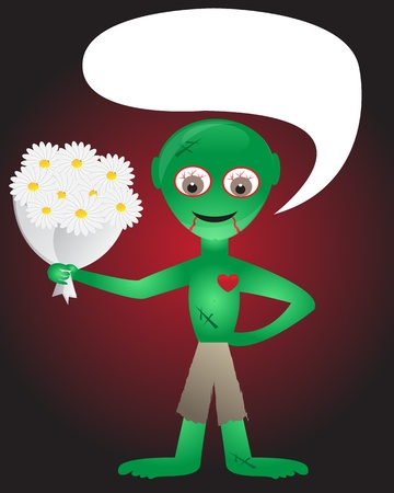love zombie with a bouquet of daisies Illustration
