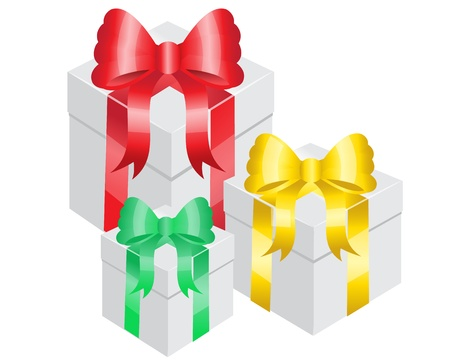 three gift boxes:   three gift boxes with bright ribbons of different colors   Illustration