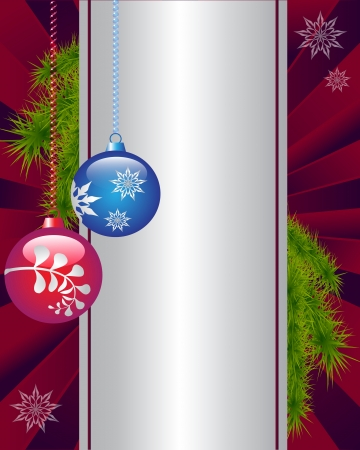 vinous: Christmas decorations with a pattern on a vinous background Illustration
