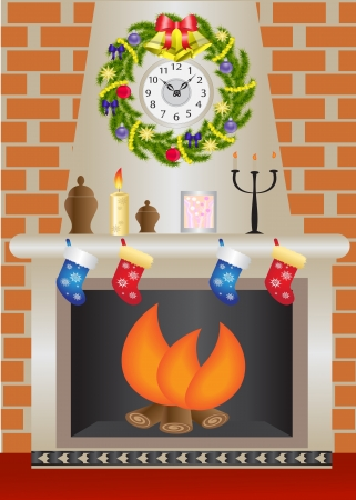 living room wall: fireplace with a fire burning against a brick wall Illustration