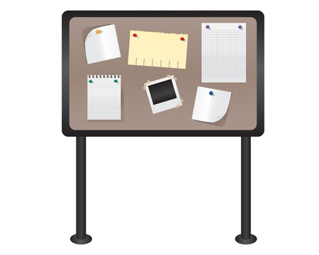 school frame: Various flyers hanging on the wall board.   Illustration