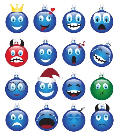 blue smiling: set of Christmas decorations depicting various emotions