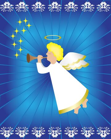Angel with a pipe on a blue background Vector