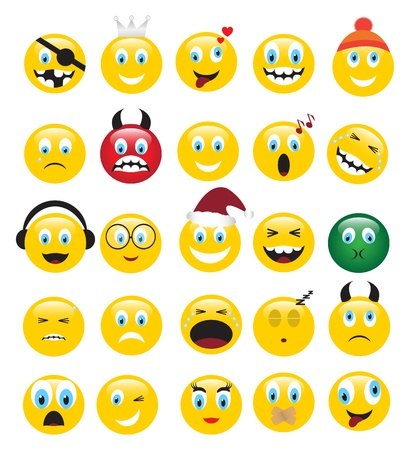round yellow icons depicting various human emotions. Vector
