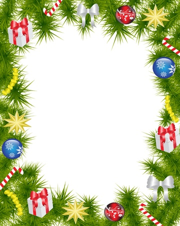 Christmas frame made of fir branches adorned with Christmas decorations, gifts, stars and candy   Vector